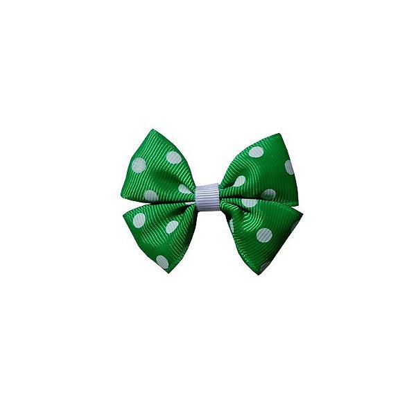 Laço Infantil Pequeno Verde Poá - P