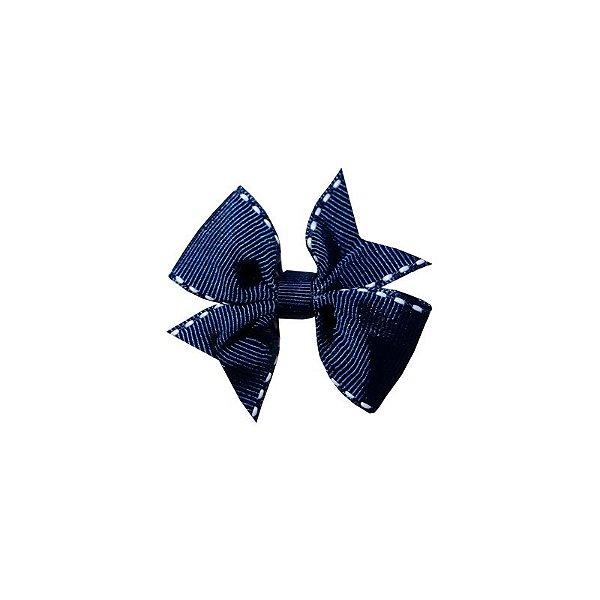 Laço para Cabelo Infantil Azul Marinho Pespontado - P