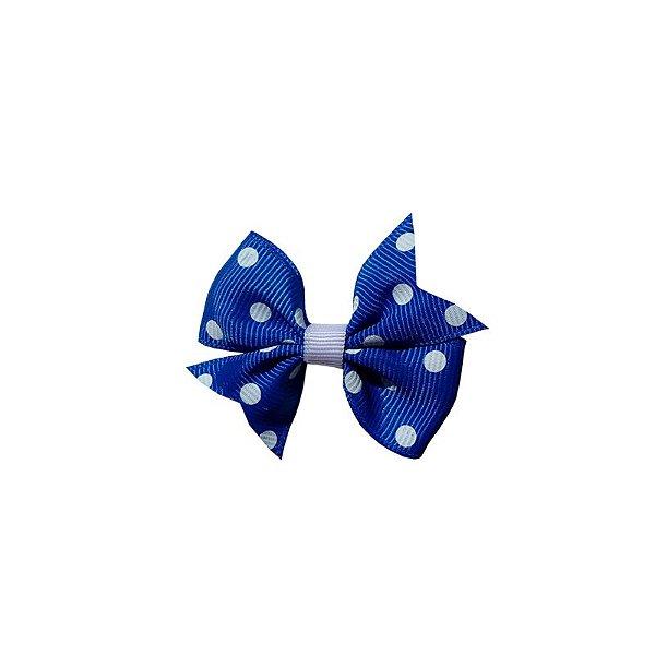 Laço para Cabelo Infantil Azul Poá - P