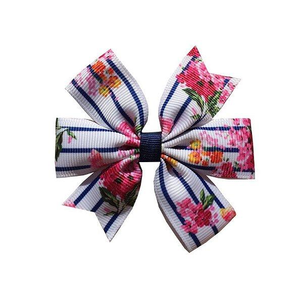 Laço de Cabelo com Listras e Flores - M