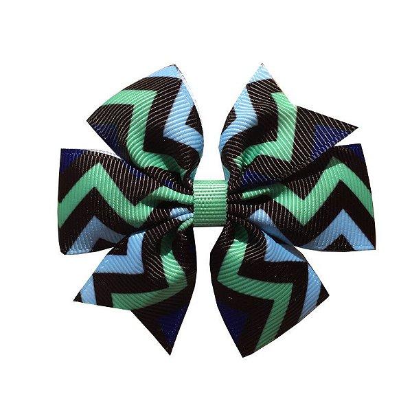 Laço de Cabelo com Listras Azul e Verde - M