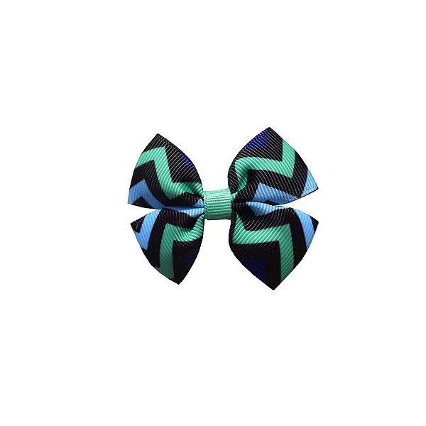 Laço Infantil Pequeno Listras Azul e Verde - P