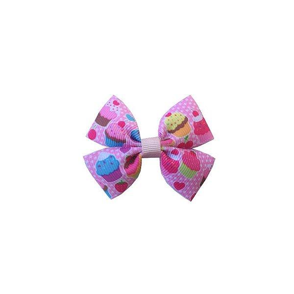 Laço Infantil Pequeno Cupcake Rosa Claro - P