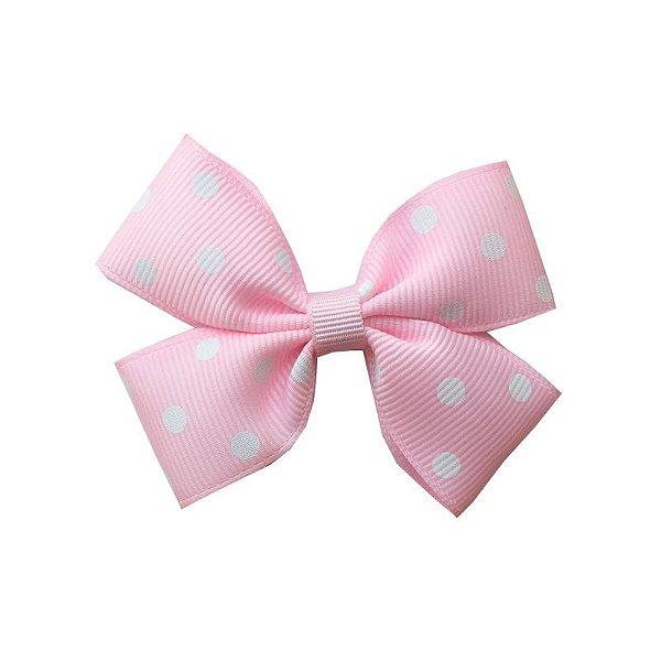 Laço Infantil Rosa Claro com Poá Branco - M