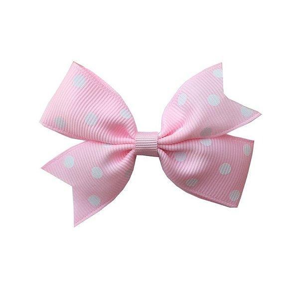 Laço Catavento Simples Rosa Claro com Poá Branco - Provence