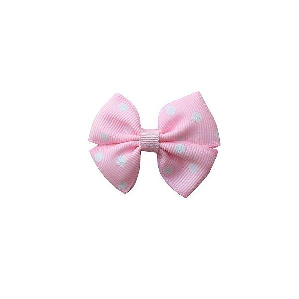 Laço Infantil Pequeno Rosa Claro com Poá Branco - P