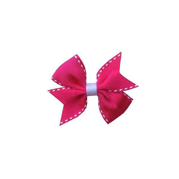 Laço para Cabelo Infantil Rosa Escuro Pespontado - P