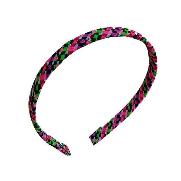 Tiara de Tecido Infantil - Quadriculado Colorido