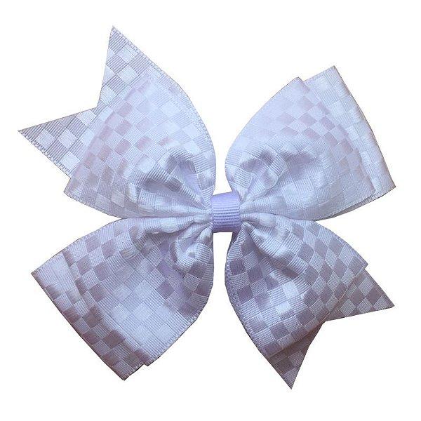Laço Grande Branco Quadriculado - G
