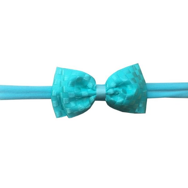 Faixa de Cabelo para Bebê Azul Tiffany Quadriculado