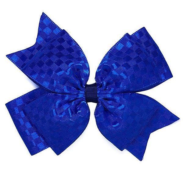 Laço Grande Azul Escuro Quadriculado - G