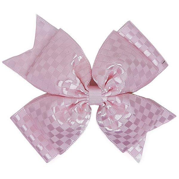 Laço Grande Rosa Claro Quadriculado - G