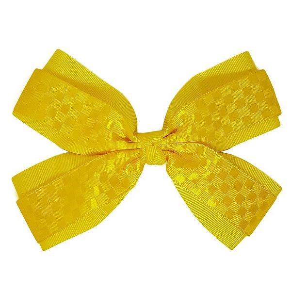 Laço de Cabelo de Estampa Amarelo Quadriculado - GG