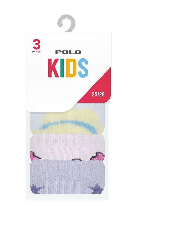 Kit Kids Menina 3 pares - Tamanho: 25 a 28