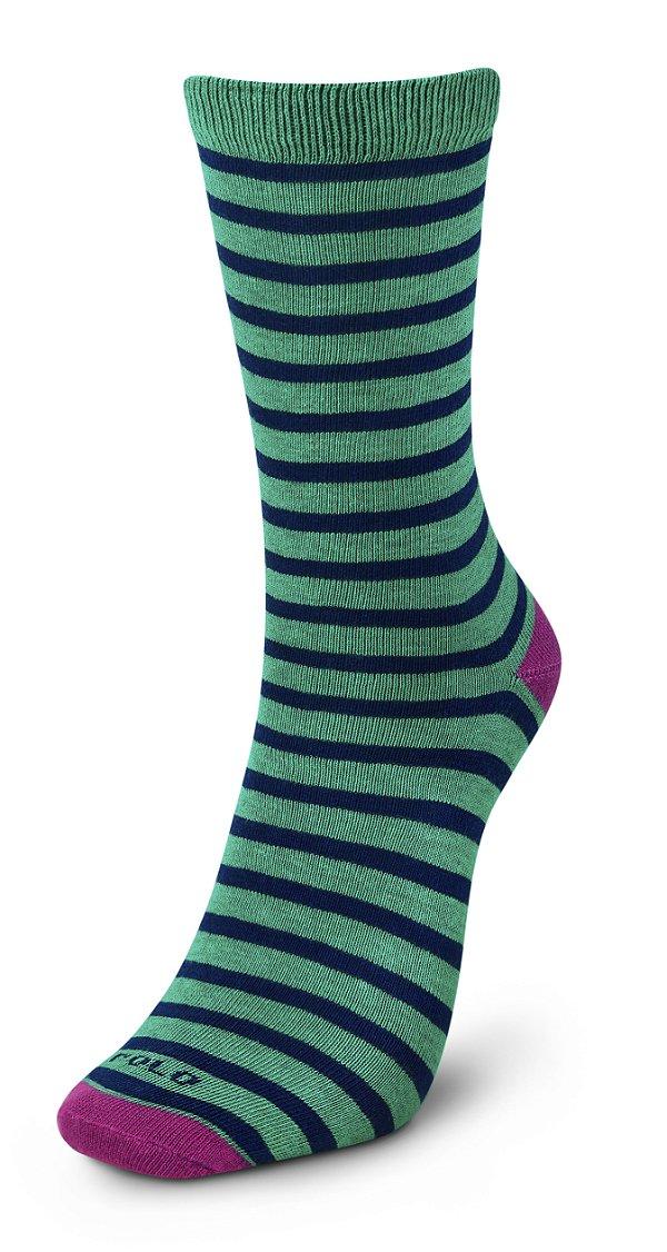 Meias Premium Listras Verde 1 Par - Tamanho: 35 a 42
