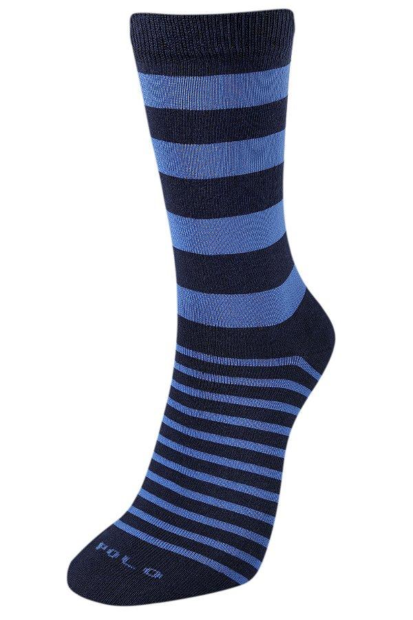 Meias Premium Listras Azul 1 Par - 2cm de cano - Tamanho: 35 a 42