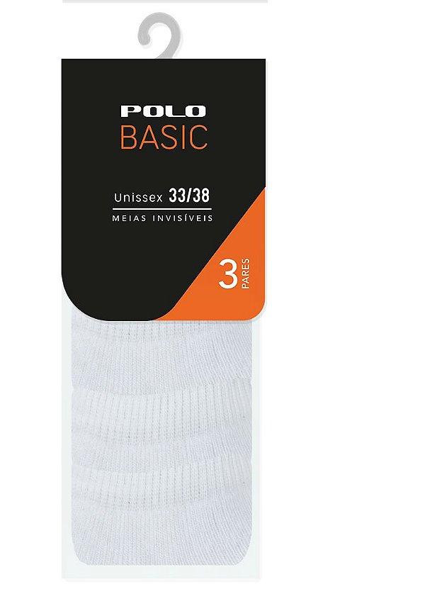 Kit Invisível Atoalhada Branca 3 Pares - Tamanho: 33 a 38