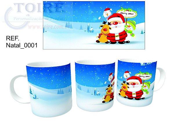 Caneca Cerâmica - Tema Natal - 350 ML Branca ( 01 Unidade )