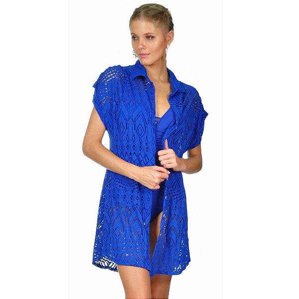 Saída de praia camisa em renda azul