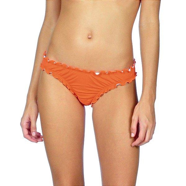 Calcinha com babados biquíni Agridoce laranja lisa