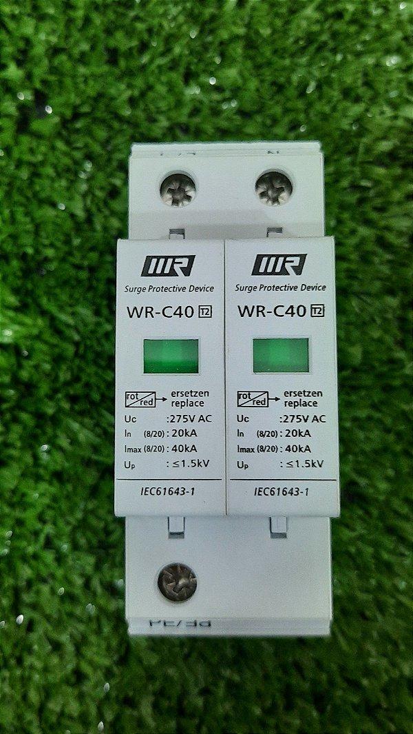 Protetor de Surto DPS 2P 275Vac T2 20/40KA WRDZ