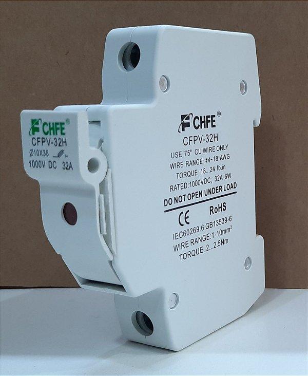 Porta Fusível PV Solar 1000VDC 32A c/ Led CFPV-32H FCHFE