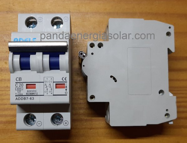 Disjuntor CC Bipolar 20A 600VDC ADDB7-63 ADELS