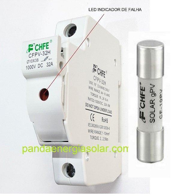 Porta Fusível dc 10x38 1000vcc CFPV-32H C/ fusivel de 15A Solar FCHFE
