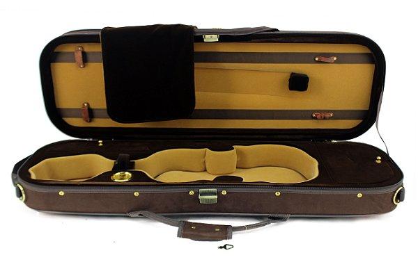 Estojo Case Retangular Violino 4/4 Marrom C/ Higrômetro Super Luxo