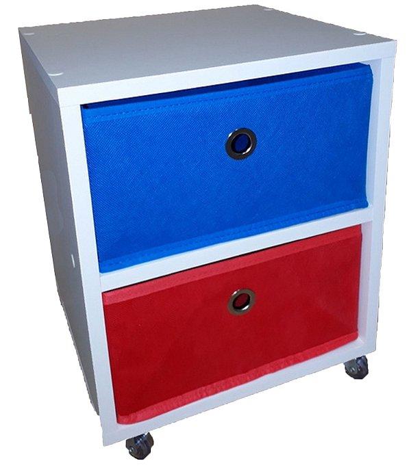 Criado mudo com 2 caixas organizadoras / gaveteiro organizador 32x47x30cm c/ rodízios