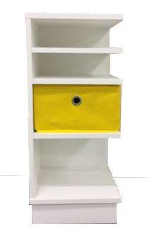 Criado mudo de canto com 1 caixa organizadora / gaveteiro organizador 30x68x30cm