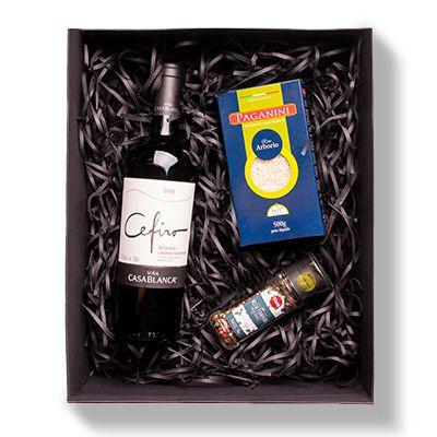 Kit Gourmet do Chef: Vinho Cefiro Cabernet Sauvignon, Arroz Arbório Paganini e Mix de Pimentas com Moedor
