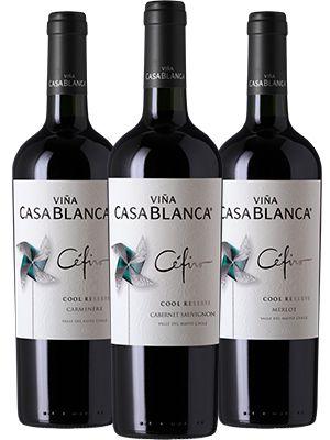 Kit Chile: 3 Vinhos Cefiro Reserva Merlot + Carmenère + Cabernet Sauvignon