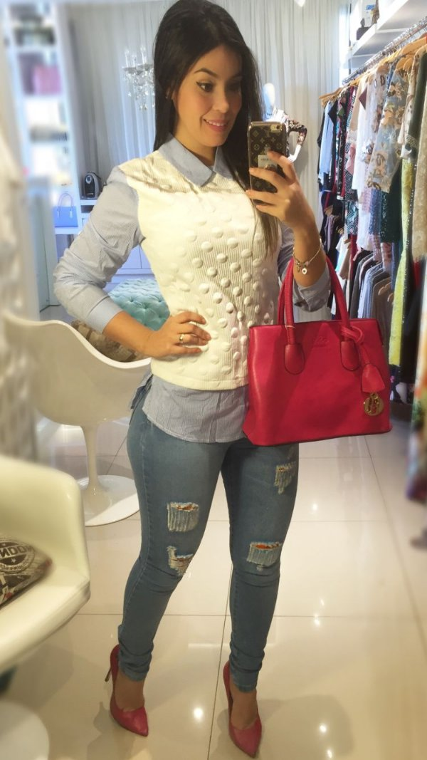 Calça cintura alta jeans clara