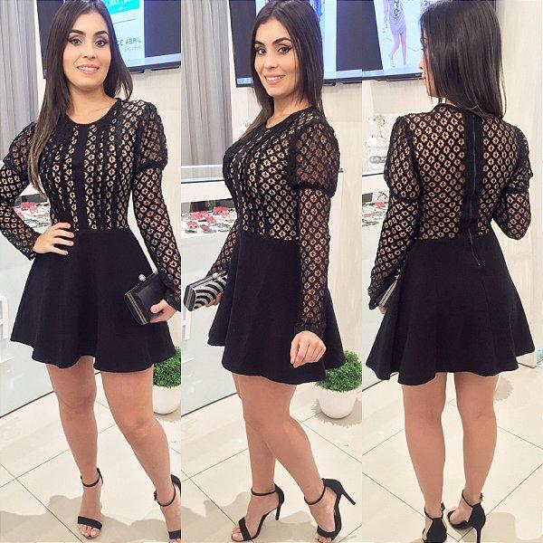 Vestido gode renda e Jacquard preto