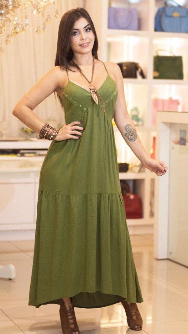 Vestido longo fre verde