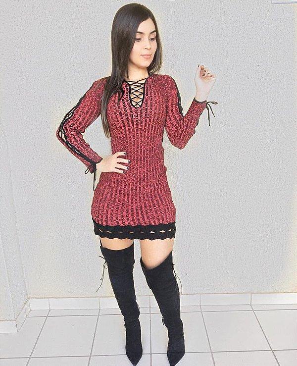 Vestido tricot marsala