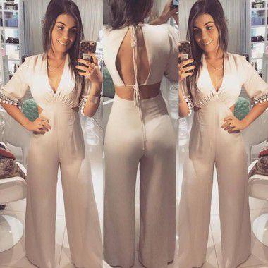 Macacão pantalona palha