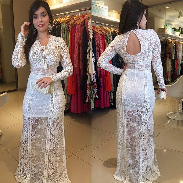 Vestido longo branco total renda