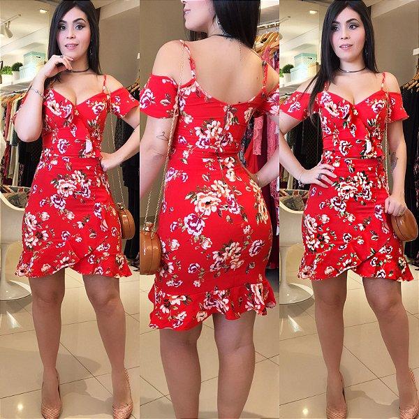 Conjunto babado floral vermelho