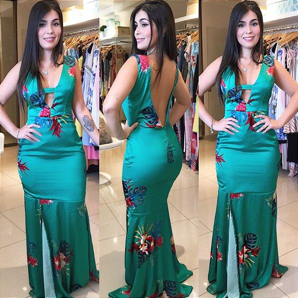 Vestido longo estampa exclusiva com fenda verde