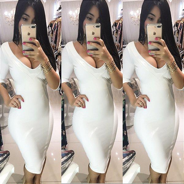Vestido midi manga 3/4 com bojo Branco