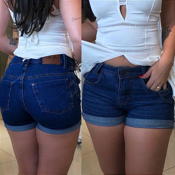 Short Sabóia jeans barra dobrada