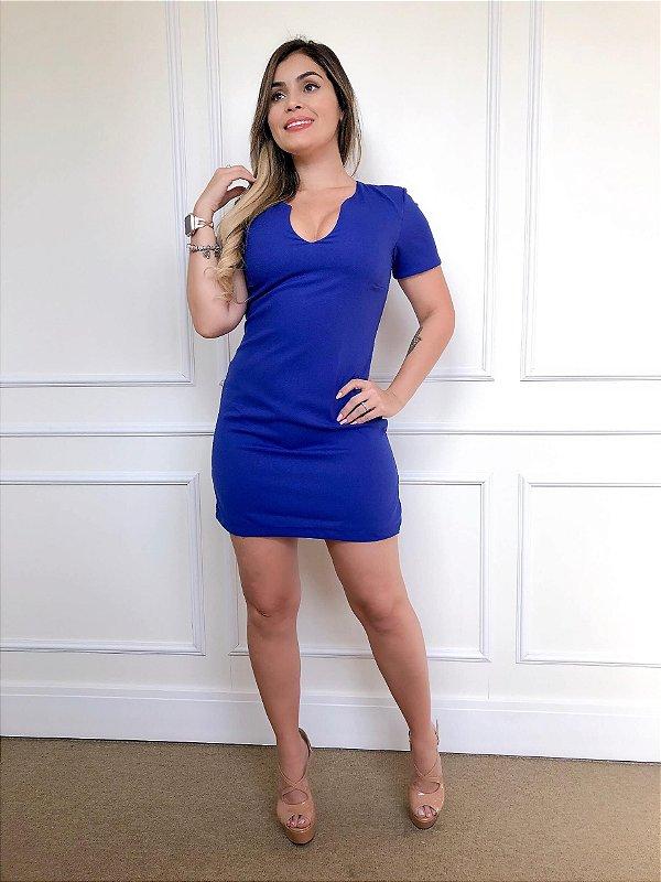 Vestido Curto Azul Corte Reto e Decote V