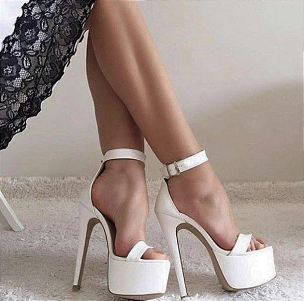 Sandália Plataforma Salto 15 cm Branca