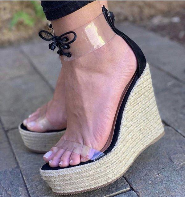 Sandália Plataforma Couro Nobuck Vinil Preta Gleice