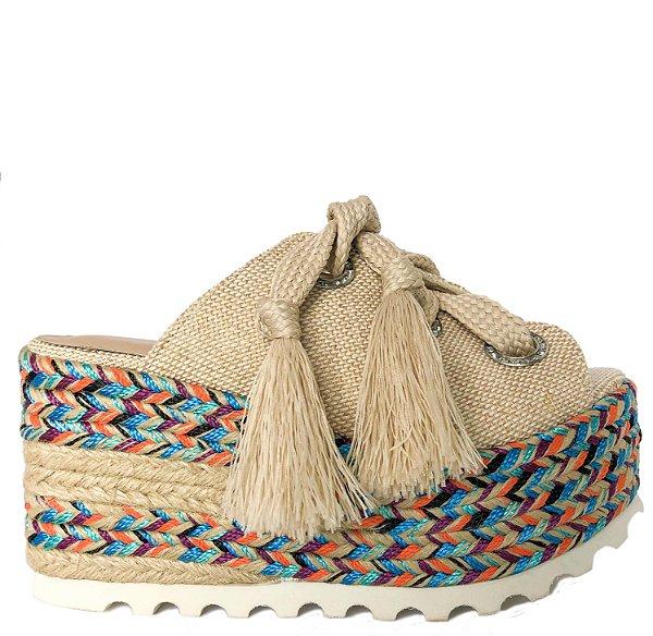 Sandália Flatform Salto Corda Plataforma Colorido