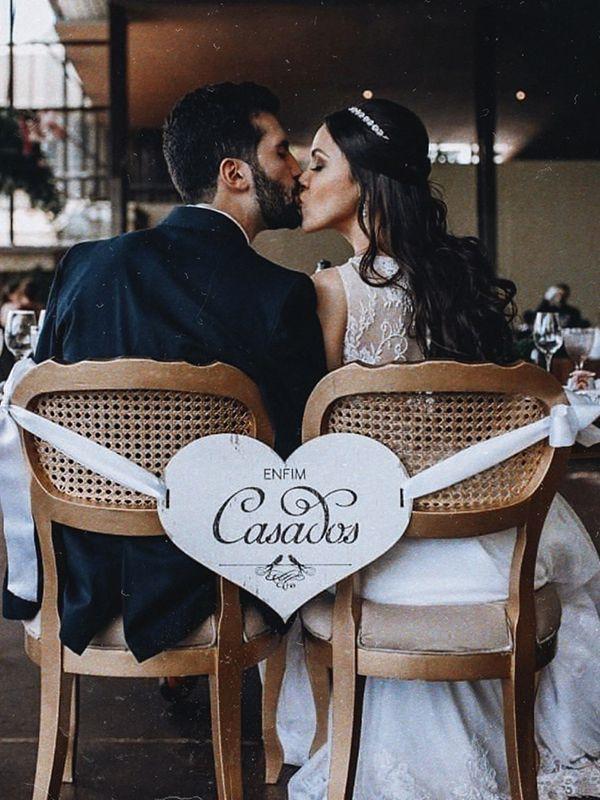 Placa dos Noivos - Enfim Casados