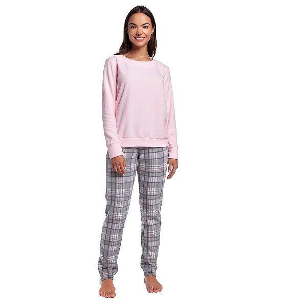 Pijama Feminino de Inverno Soft Xadrez e Blusa Rosa