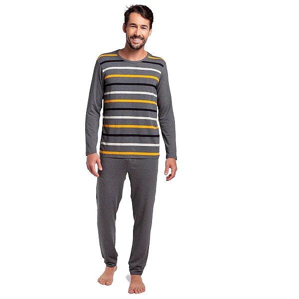 Pijama Masculino de Inverno Listrado Munique